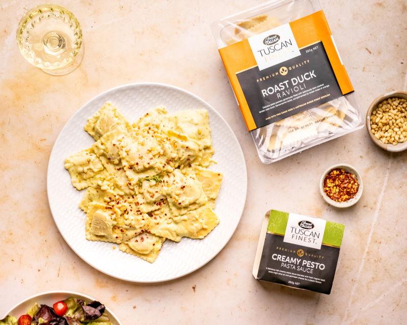 20210818 Grand Italian Roast Duck Ravioli With Creamy Pesto Sauce (pinenut, chilli) – 09642 RESIZED